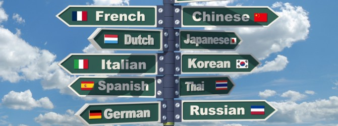 Image showing a signpost of languages