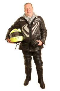 Tom voice talent biker gear