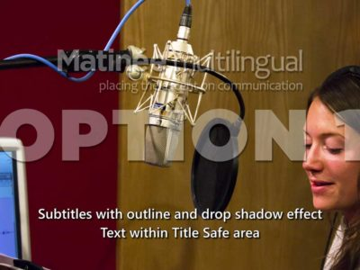 Subtitles with outline and drop shadow effect