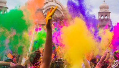 Holi Festival colours in the air